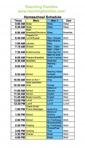 Homeschool Schedule One Child